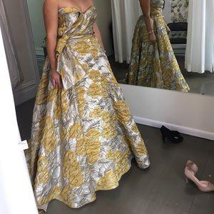 Regal Silver Evening Ballgown w/ Gold Roses